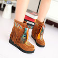 Large Size Embroidered Tassel Feather Warm Fur Lining Short Boots