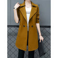 Casual Winter Solid Long Sleeve Lapel Coat For Women