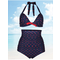 Plus Size Women Sexy Dots Bikini Sets High Waist Halter Swimsuits