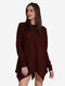 Women Irregular Hem Long Sleeve O-Neck Pure Color Sweaters