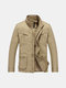 Military Style Outdoor Thick Warm Solid Color Multi Pockets Stand Collar Jacket for Men