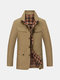 Business Casual Zipper Chest Pocket Single Breasted Overcoat For Men