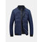 Casual Personality Mosaic Chest Sleeve Leather Stickers Stand Collar Bomber Jacket For Men