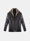 Winter Fur collar PU Leather Jacket Inside Extra Fleece Thicken Outwear For Men