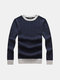 Mens Fall Winter Pullover Solid Color O-Neck Slim Fit Knitted Sweater