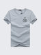 Large Size Mens Summer Cotton Solid Color Printing Short sleeved T Shirts