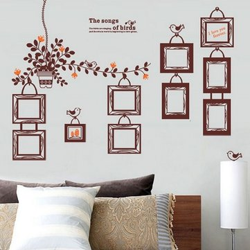 10Pcs DIY Photo Frames Wall Stickers Flower Rattan Decal Vinyl PVC Home Decoration
