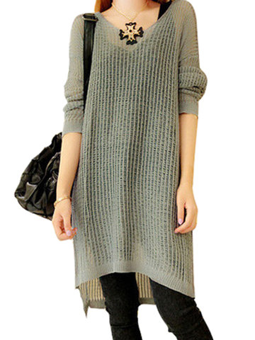 Loose Solid Hollow Out Long Sleeve Jumper Women Dress