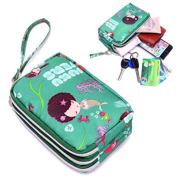 Women Nylon Multi-Zipper Daily Phone Clutch Bag Portable Wallet Purse Bag for Iphone7