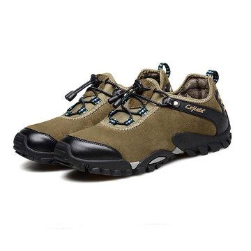 Большие размеры Корова Разделенная кожа Обувь для путешествий Повседневные кроссовки для мужчин