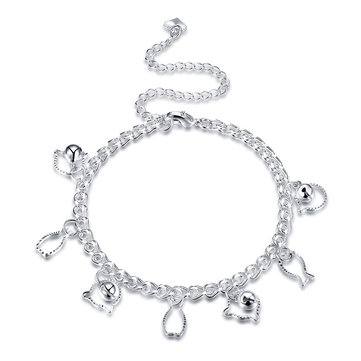 YUEYIN Fish Cat Pendant Silver Anklet