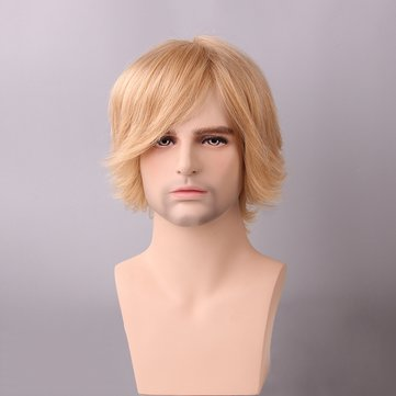 Men Short Human Hair Wig Side Bang Male Mono Top Virgin Remy Capless