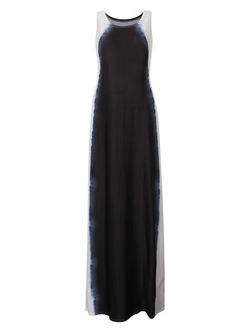 Elegant Women Gradient Color Sleeveless Long Maxi Dress