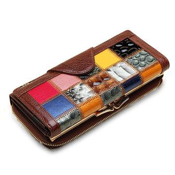 Женский Бумажник Из Натуральной Кожи Большая Емкость Кошелек Телефона