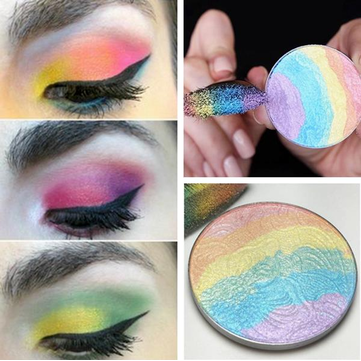 Calans Holo Rainbow Highlighter Pigmented Baked Eyeshadow Blush Contouring Palette Eye Makeup