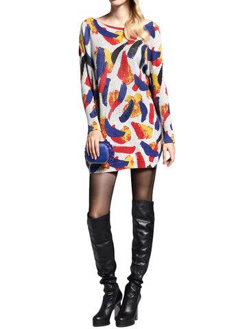Повседневный женщин с длинным рукавом Пуловер печатных вязать свитер платье