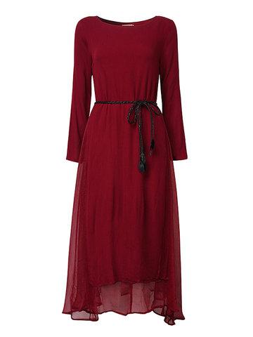 Vintage Women Fake Deux pièces Long Sleeve Long Maxi Dress