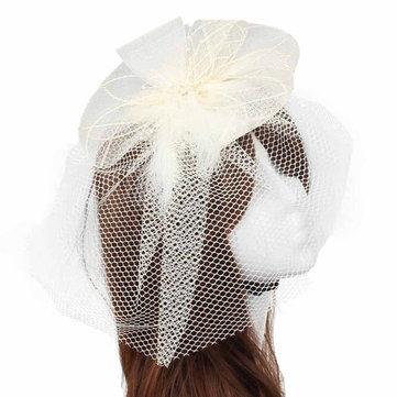Невесты Женщины Цветочные перья Бисероплетение Fascinator Свадебные головные уборы