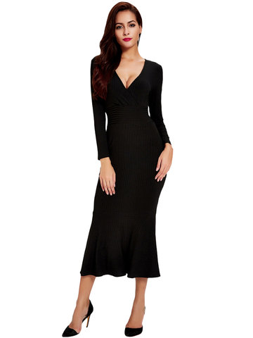 Sexy V-Neck Long Sleeve Skinny Black Fishtail Knit Dress