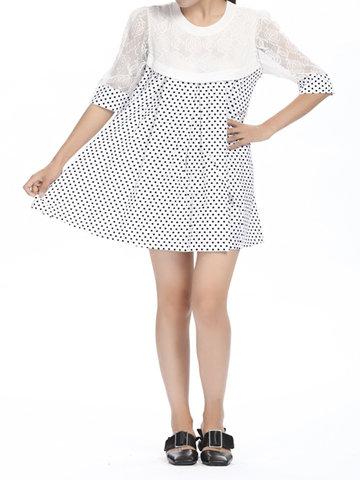 Lace Dots Patchwork plisado manga corta mujeres mini vestido