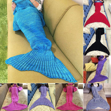 180x90cm Woollen Knitting Mermaid Tail Blanket Home Office Crylic Fibers Warm Soft Sleep Bag