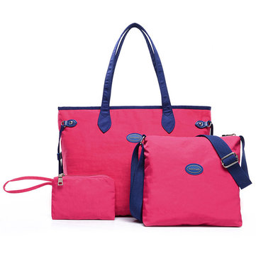 Women 3 Pcs Nylon Handbags Casual Big Capacity Shoulder Bag Clutch
