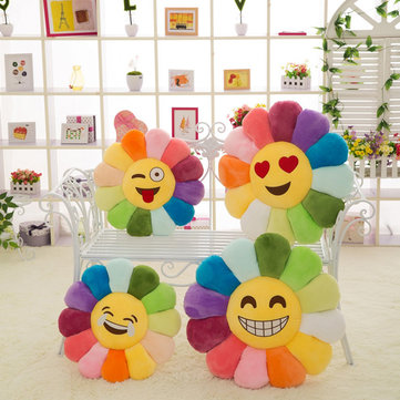 Emoji Expression Candy Color Sunflowers Throw Pillow Plush Sofa Car Office Back Cushion
