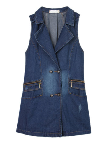 Women Sleeveless Double-Breasted Denim Long Vest Waistcoat