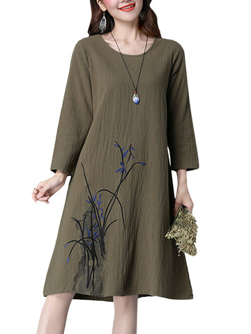 Embroidery Vintage Long Sleeve Women Cotton Dresses