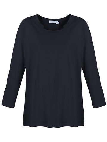 Casual Long Sleeve Pure Color O Neck Cotton T-shirt For Women