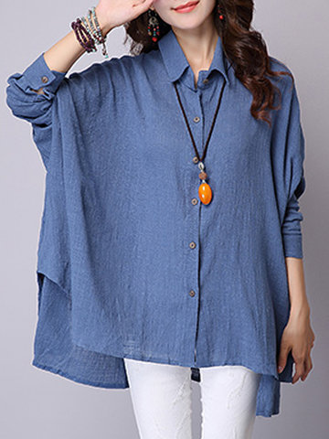 Women Long Batwing Sleeve High Low Pure Color Blouse