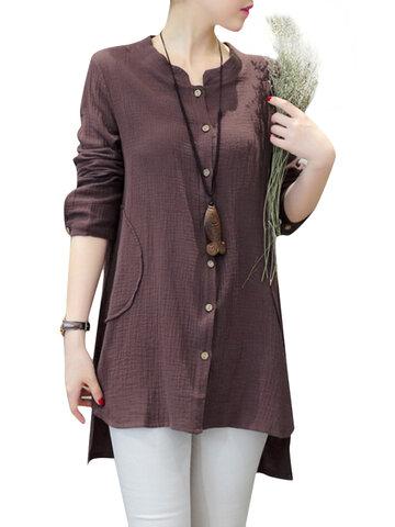 Blusa retra amplia de algodón de corte irregular de manga larga para mujeres