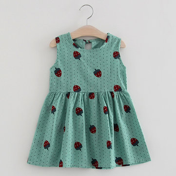 Cute Strawberry Pattern Sleeveless O-neck Dress For Kids Girls