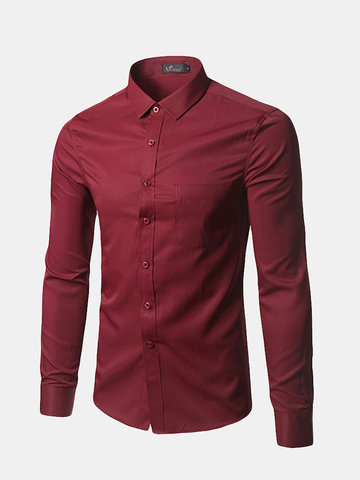 Business Casual Soft Slim Solid Color Long Sleeve Dress Shirts for Men
