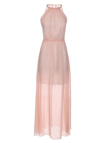 Sexy Party Pleated Halter Sleeveless Maxi Chiffon Women Dress