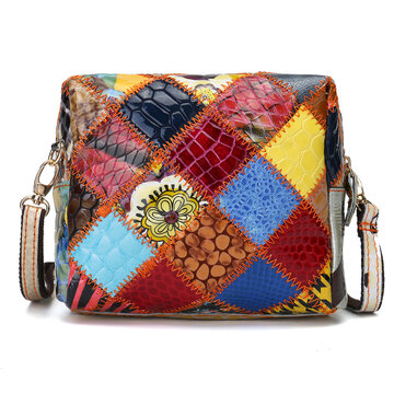 Women Colorful Genuine Leather Crossbody Bag Patchwork Shoulder Bags