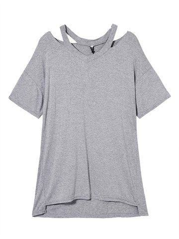 O-Newe Loose Women Solid V-Neck Hollow Out T-Shirt