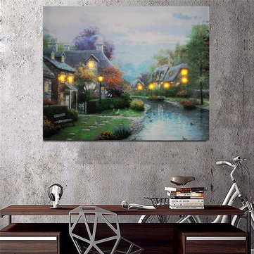 LED Country House Lighted Canvas Picture Illuminate Print Home Wall Art Decor