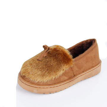 Butterfly Knot Furry Slip On Fur Lined Flat Casual Shoes