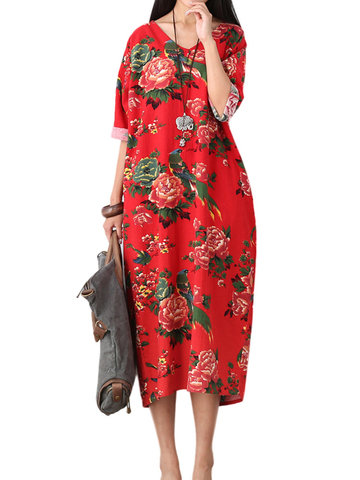 Vintage Flower Printed Back Split Maxi Dress For Women