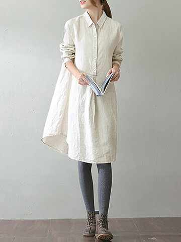 O-NEWE Robe Chemise Vintage Col Revers avec Poches pour Femme