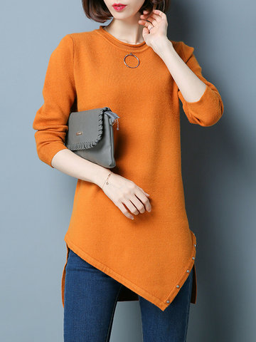Irregular Splited Rivet Women Sweaters
