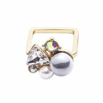 Балансировка Стиль Сплав кольцо Простой Rhinestone Rhinestone Черный жемчуг кольцо