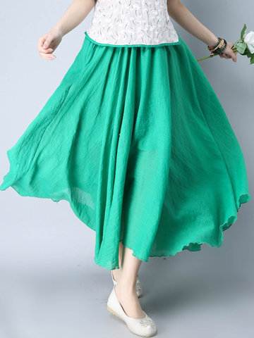 Casual Cotton Solid Color Loose Maxi Skirt For Women