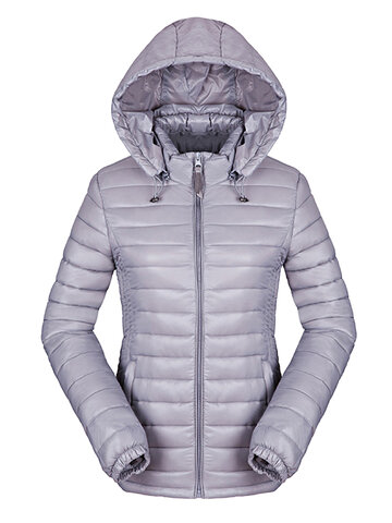 Solid Removable Hood Down Jacket