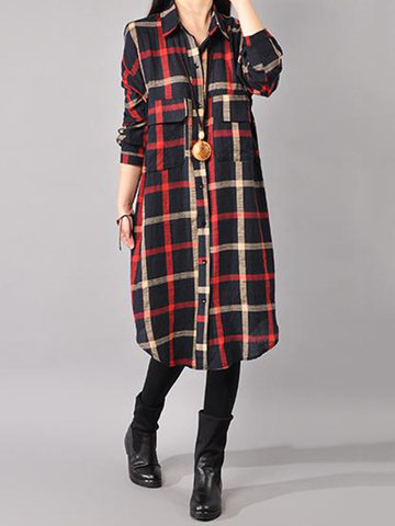 Gracila Casual Loose Plaid Turn-Down Collar Front Closure Women Shirts Dresses