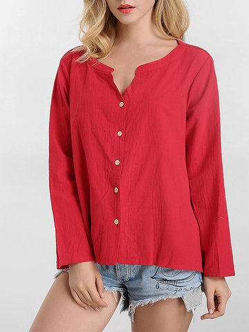 O-Newe Plus Size V-Neck Long Sleeve Button High Low Shirt For Women