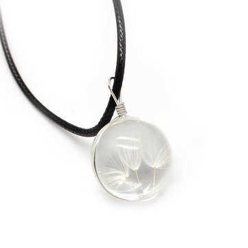 Crystal Glass Ball Dandelion Pendant Leather Chain Necklace For Women