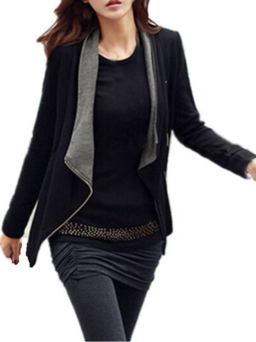 Ocio Mujer Loose Matching Side Zipper Short Jacket