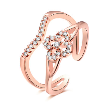 INALIS Luxury Ring Flower Zircon Two Layer Ring